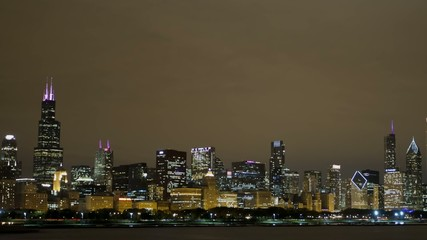 Timelapse of Chicago Skyline at night
