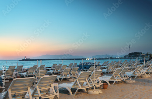 Chaise Lounge on evening beach