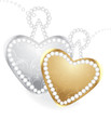 Golden and silver hearts with diamonds