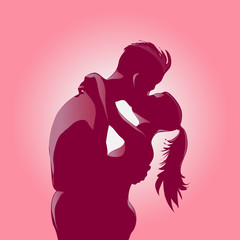 Young romantic kissing couple backlit silhouettes