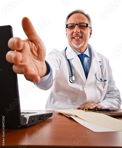 Friendly doctor introducing himself