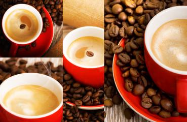 Caffè in tazza rossa e chicchi