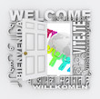 Welcome Word Door Greeting People Around World