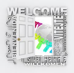 Welcome Word Door Greeting People Around World