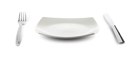 white square plate, knife and fork cutlery isolated with clippin