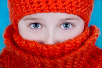 Girl in Orange Hat and Scarf