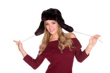 Playful Young Blonde Woman In Winter Hat