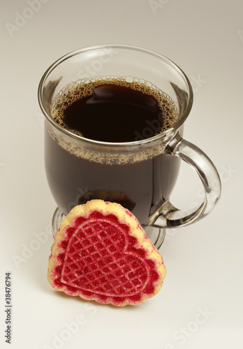 Valentine's day coffee and cookie.