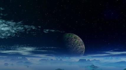 The major planet  against a fantastic landscape