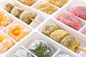 Japanese dessert called Dango on white packaging