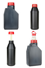 set of plastic bottles with automobile oil