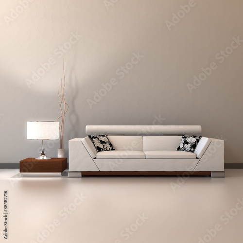 White couch with lamp
