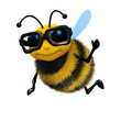 3d Bee wears glasses and waves hello