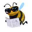 3d Bee reads the newspaper with enthusiasm