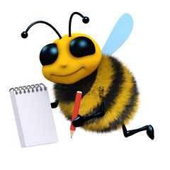 3d Bee writes in his notepad with a pencil
