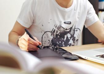 Man Using Graphics Tablet