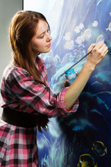 Young painter at work