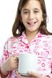 Hispanic girl wearing pajamas isolated on white