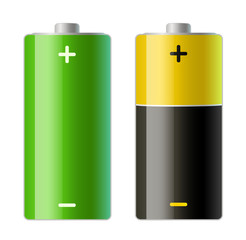 vector illustration of two batteries icons