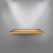 Empty wooden shelf on the wall. Vector illustration.
