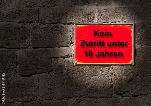 schild im rotlicht kein zutritt unter 18 jahren von twystydigi lizenzfreies foto 38487382. Black Bedroom Furniture Sets. Home Design Ideas