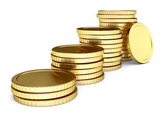 pile of golden coin as stairs 3d-illustration isolated