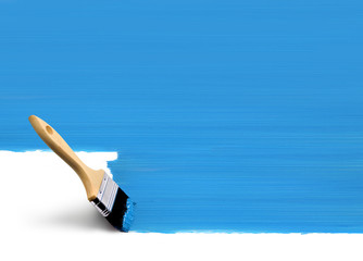 Paintbrush painting blue area