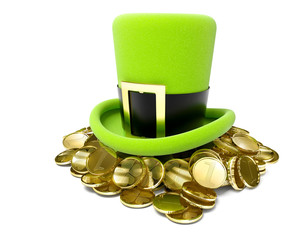 saint patrick's hat on pile of golden coin 3d-illustration