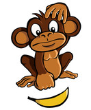 Fototapety Cartoon monkey with banana