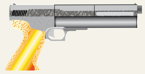 Closeup of a air pistol.