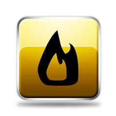Fire glossy yellow icon