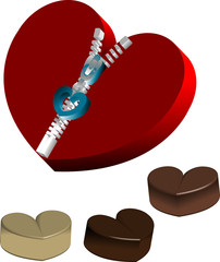 Cute heart-shaped candy box