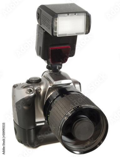 Camera with Flash and Big Lens
