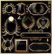 Vector set of black gold - framed labels