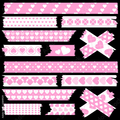 Tape Set Different Hearts Rose/White