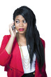 Ethnic girl on mobile phone worried expression