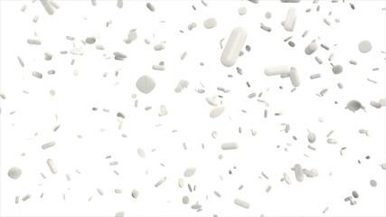 hunderte weiße Tabletten fallen in Zeitlupe