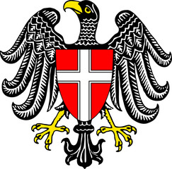 emblem of the city of Vienna isolated over white