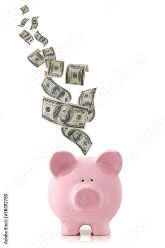 Money Falling into Piggy Bank