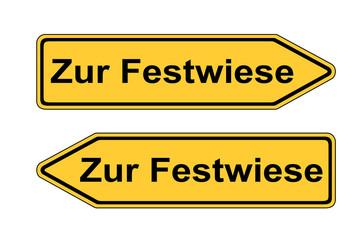 Verkehrsschild links rechts Zur Festwiese