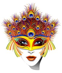Maschera Piume Pavone Donna-Peacock Feathers Mask Face-Vector
