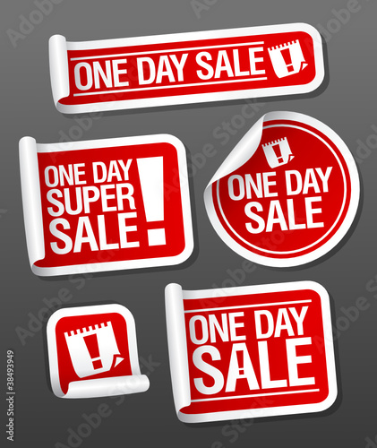 One Day Sale stickers.