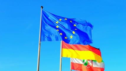 Flaggen von Europa, Deutschland und Nordrhein-Westfalen
