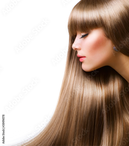Beautiful Woman With Straight Long Hair Over White
