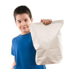 Recycled shopping bag and cute boy isolated on white