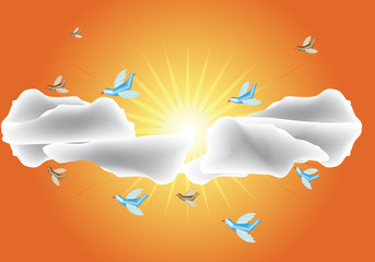 Birds in love flying around in solar sky