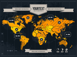 Vector world map with grunge and infographic elements.
