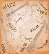 Jazz music set illustration