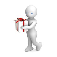 3D人物とプレゼント