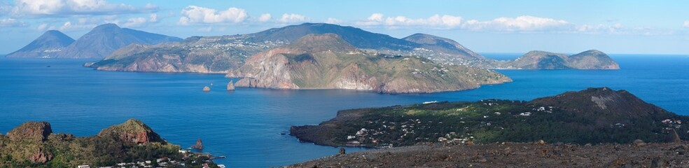 Aeolian islands seen from Vulcano island, Sicily, Italy